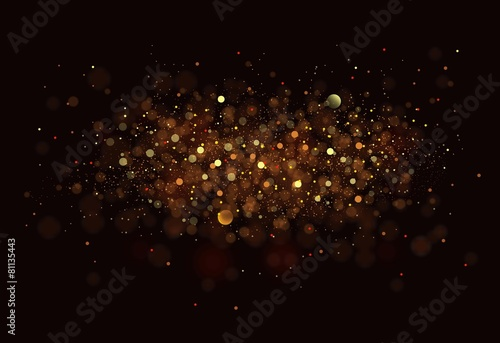 Gold. Glitter vintage lights background. dark gold and black