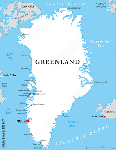 Fotografie, Obraz  Greenland Political Map
