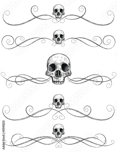 Fotografie, Obraz  Sketchy skull page rules
