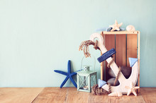 Wooden Anchor, Star Fish And L...