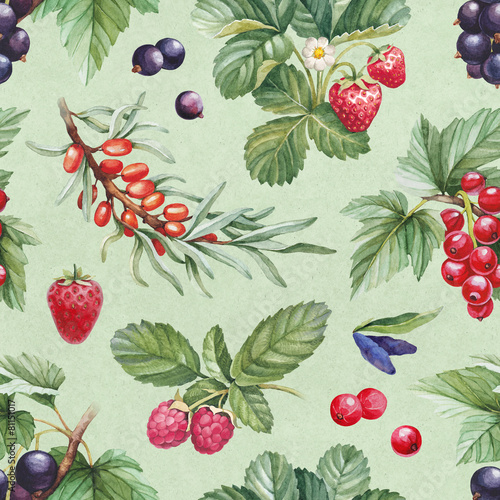 Seamless pattern with watercolor illustrations of berries - 81151017