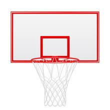 Red Basketball Backboard Isolated On White Background