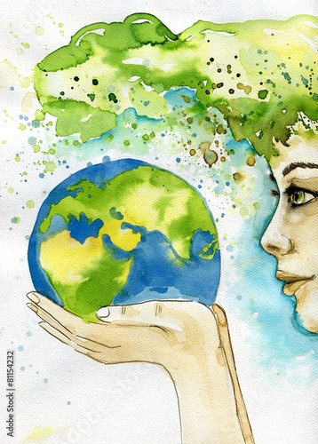 Photo Stands Painterly Inspiration watercolor illustration depicting the earth
