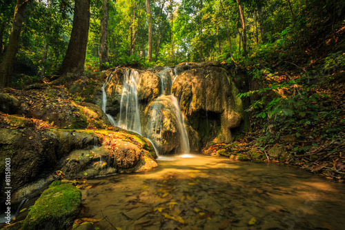 Garden Poster Orange wonderful waterfall in thailand, Pugang waterfall chiangrai