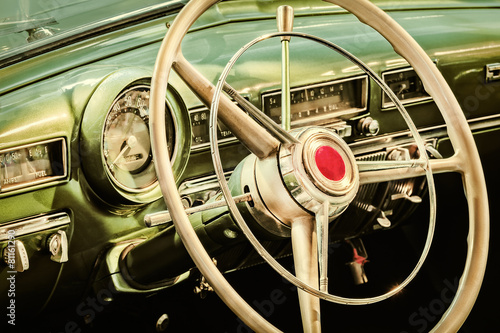 Poster Vintage cars Retro styled image of the interior of a classic car