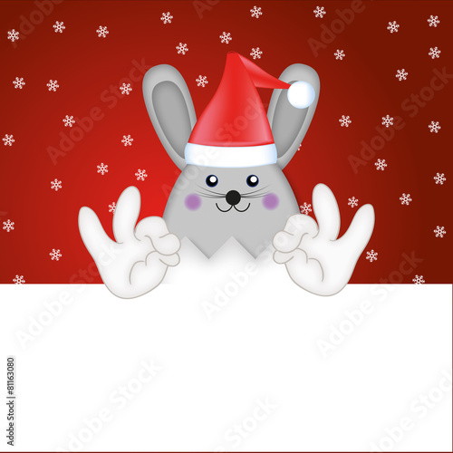 Foto auf AluDibond Ziehen Easter Bunny christmas illustration santa hat funny cartoon