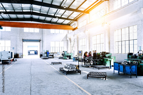 Poster Industrial geb. factory workshop interior and machines