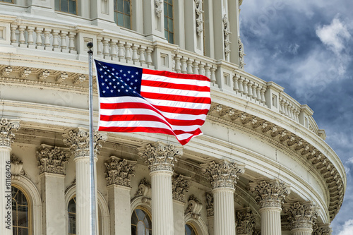 Fototapeta Washington DC Capitol detail on cloudy sky obraz