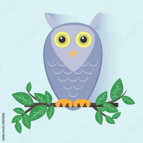 Poster Uilen cartoon Purple Owl Sitting on a Branch