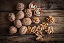 Walnut Kernels And Whole Walnuts
