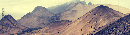 Photo sur Toile Saumon Fantastic landscape lifeless mountains