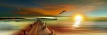 Sonnenuntergang Am Bootssteg Mit Anglern Und Leuchtturm