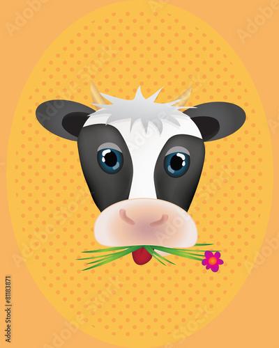 Fotobehang Boerderij Cute cow with flower with retro pattern