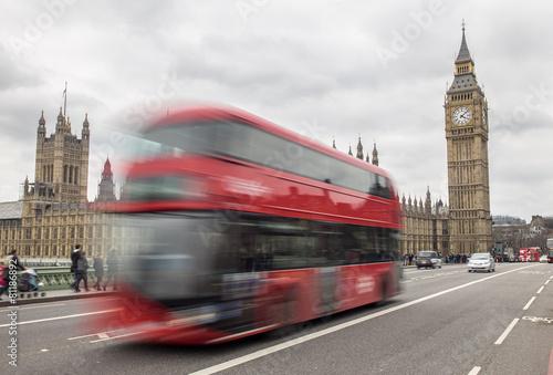 Photo  London bus passing Big Ben