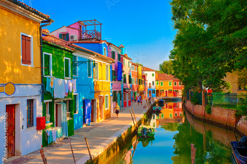 Canvas Prints Narrow alley Burano, Italien
