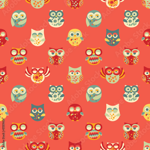 Vintage Seamless Pattern with Owls