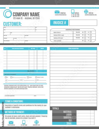 Fotografie, Obraz  Customizable Invoice template design