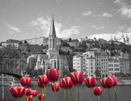 Staande foto Parijs Black and white old Lyon with red tulips on front