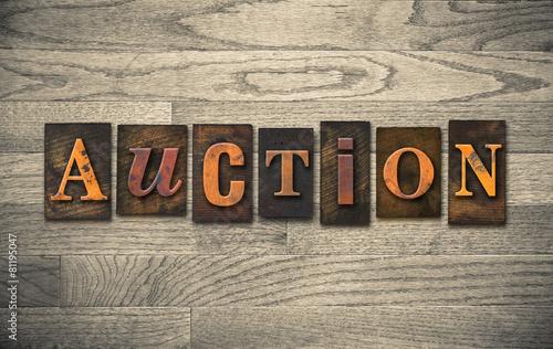 Auction Wooden Letterpress Theme Canvas Print