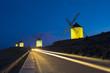 Blue sky and windmills in the background, Castilla-La Mancha.