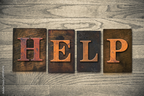 Help Wooden Letterpress Theme Canvas-taulu