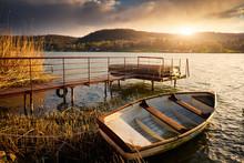Boat On Lake Near Pier