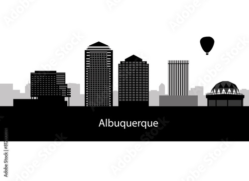 Photo Albuquerque, New Mexico skyline. Detailed silhouette. Vector ill