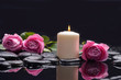 Valentines Day background-three rose with red candle