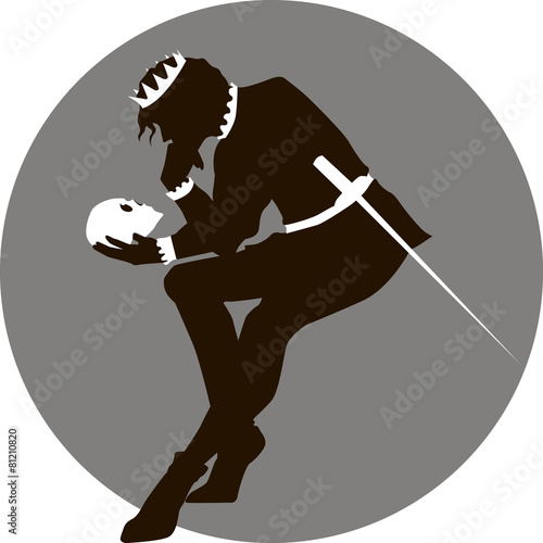 Photo Black and white illustration of Hamlet with a skull in his hand