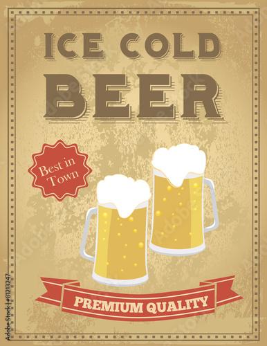 Obraz na plátně  Vintage pivo plakát