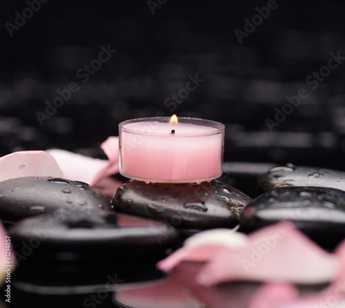 Staande foto Spa rose petals with pink candle and therapy stones