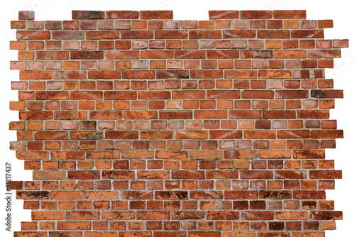 Strukturierte Backsteinmauer,lings,rechts,oben Freigestellt