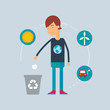 Character - ecologist. Vector illustration, flat style