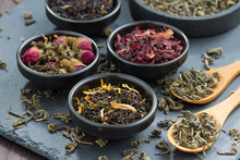 Assortment Of Dry Tea In Ceram...