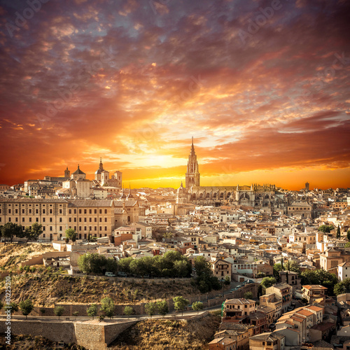 Toledo over sunset. medieval town