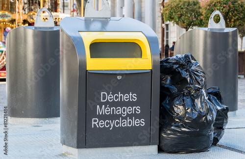 Photo poubelle de recyclage
