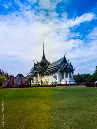 Royal grand palace Sanphet Prasat Palace, Ancient City, Bangkok, Poster