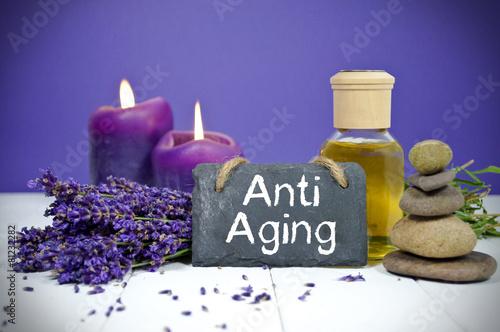 Fotografie, Obraz  Lavendel mit Schiefertafel und Anti Aging