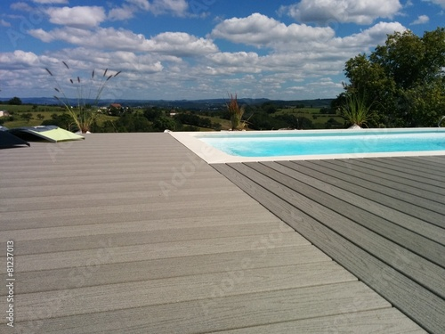 Gray wood composite deck Poster