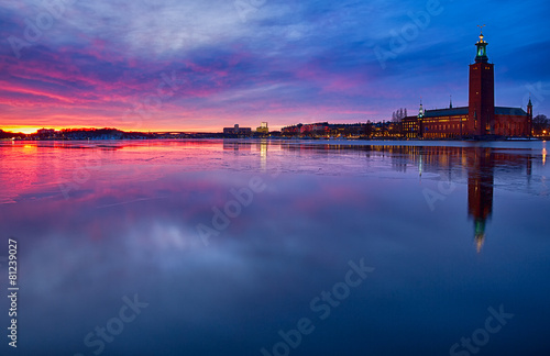 Stadshuset in Stockholm in winter at sunset. Canvas