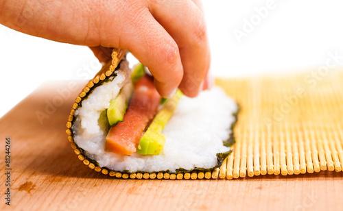 Photo  chef turns nori sheet