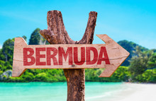 Bermuda Wooden Sign With Beach...