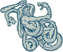 Hercules Fighting Hydra Club