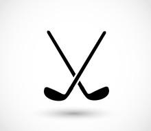Golf Sticks Crossed Icon Vector