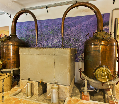 Photo Alembics or stills in a perfume distillery