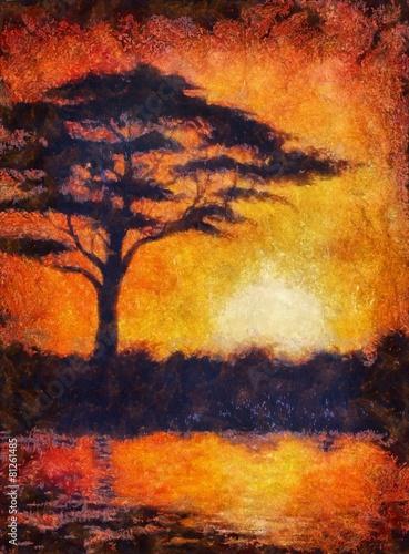 zmierzch-w-africa-z-drzewna-sylwetka-piekny-kolorowy-bol