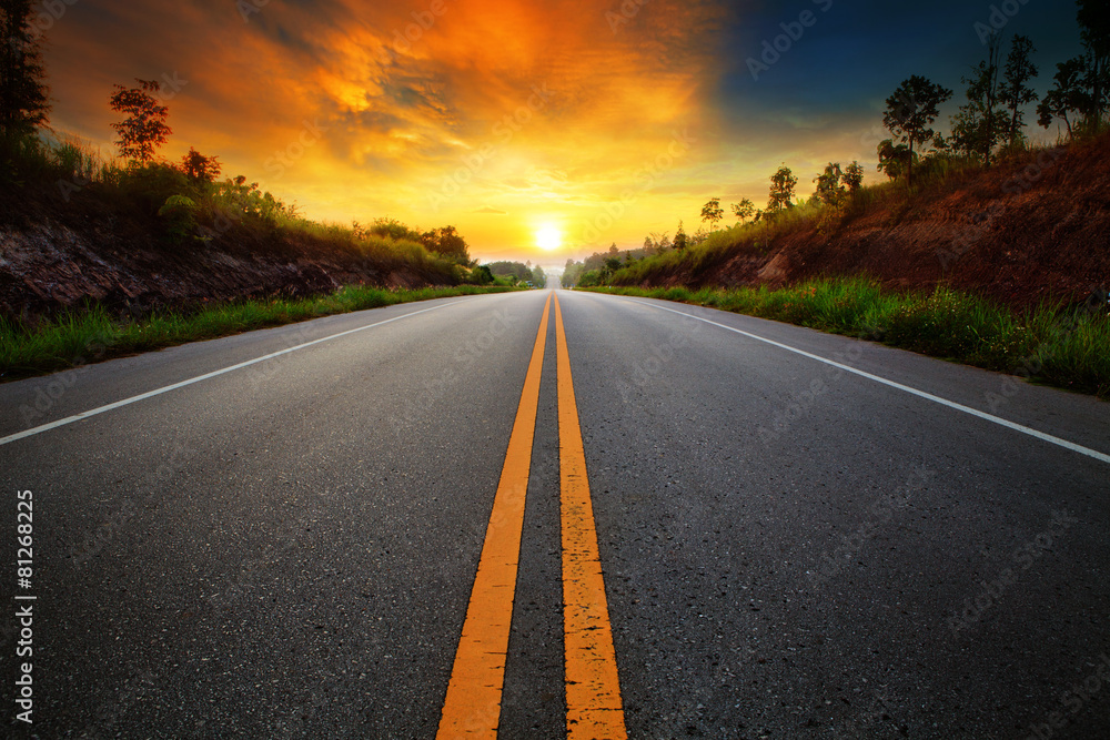 Fototapeta beautiful sun rising sky with asphalt highways road in rural sce