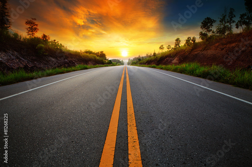 Fototapeta beautiful sun rising sky with asphalt highways road in rural sce obraz