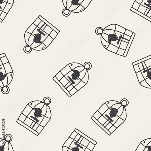 Fotografia  doodle birdcage seamless pattern background