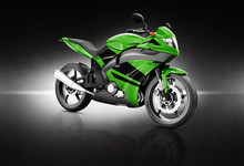 Motorcycle Motorbike Bike Rider Contemporary Green Concept